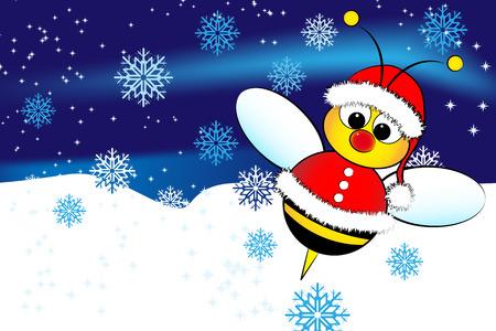 Weihnachtskarte für Kinder mit einem Weihnachtsmann Bee und Schnee Standard-Bild - 5952148