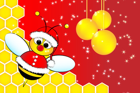 Christmas card for kids with a Santa Claus Bee in a beehive and golden balls