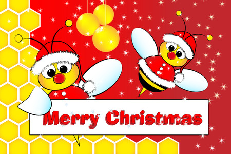 Christmas card for kids with Santa Claus Bees in a beehive, golden balls and frame message
