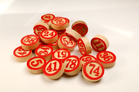 Wooden numbers, random choise. Lucky concept 版權商用圖片