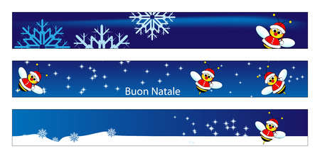 Christmas web banner for kids with a Santa Claus Bee and snow. Label useful
