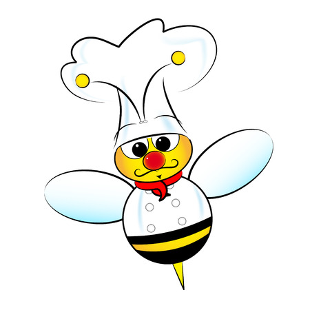 Bee chef illustration with jacket and hat Vector