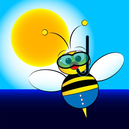 snorkeling: Bee on holiday at the sea with scuba mask and snorkel