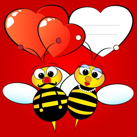 Valentine day greetings card with bees in love