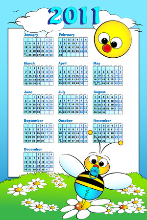 2011 Kid calendar landscape with a baby boy bee and daisies - Cartoon style Vector