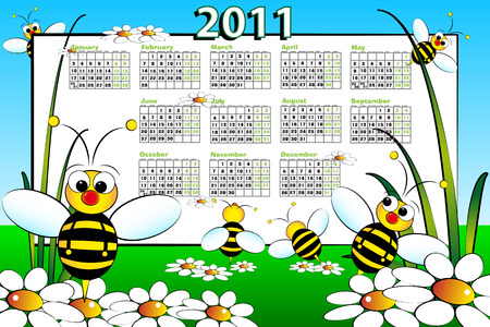aug: 2011 Kid calendar landascape with bees and daisies - Cartoon style
