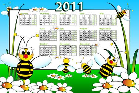 Landascape de calendario de kid de 2011 con las abejas y margaritas - estilo de dibujos animados  Foto de archivo - 7932826