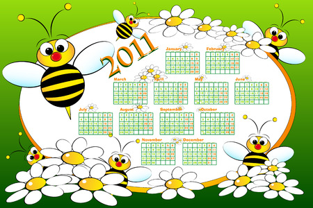 2011 Kid calendar with bees and daisies - Cartoon style Vector