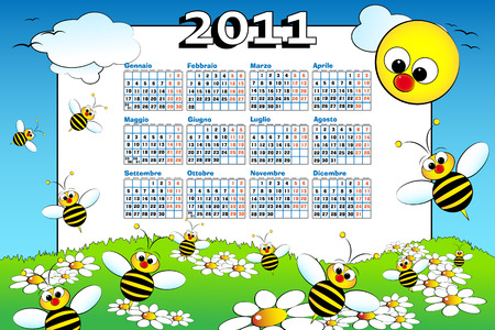 2011 Italian calendar for kids with bees and daisies, cartoon style Vector