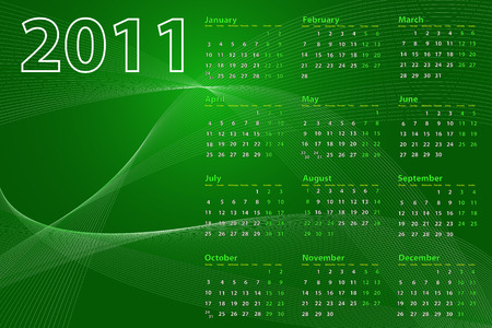 2011 calendar on abstract background with lines and waves, green tones Vector