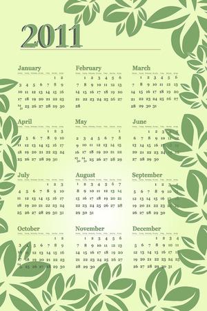 newyear: Calendario de 2011 con hojas y tonos verdes