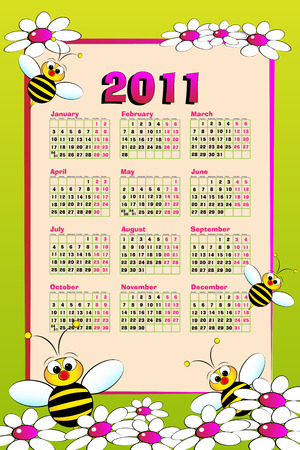 2011 Kid calendar with bees and daisies - Cartoon style Stock Vector - 7932824