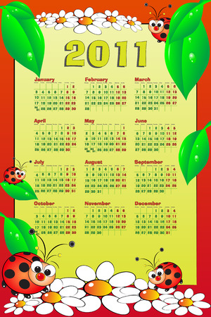 2011 Kid calendar with ladybugs and leaves - Cartoon style Vector