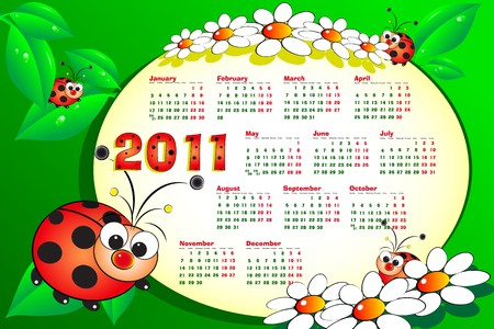 2011 Kid calendar with ladybugs, leaves and daisies - Cartoon style Stock Vector - 8013991