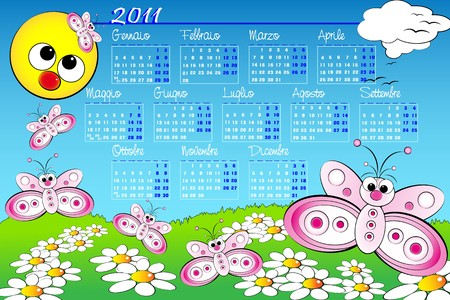 2011 Landscape Kid calendar with butterflies and daisies, Italian language Stock Vector - 8075324