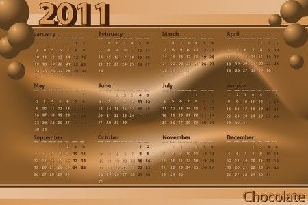 2011 Calendar chocolate theme - Abstract background Vector