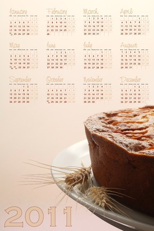 2011 calendar with apple tarte, food theme photo