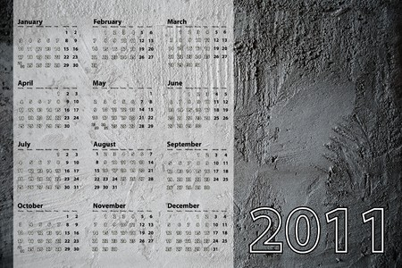 2011 calendar with concrete background photo