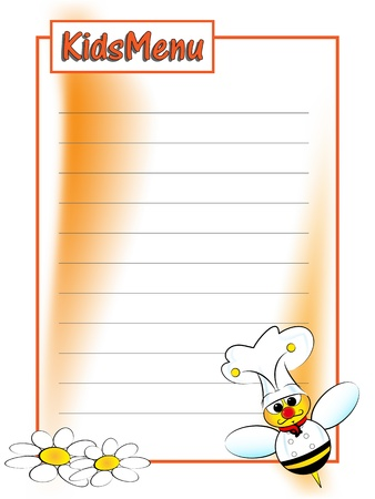 Menu page for children with a bee chef Vector