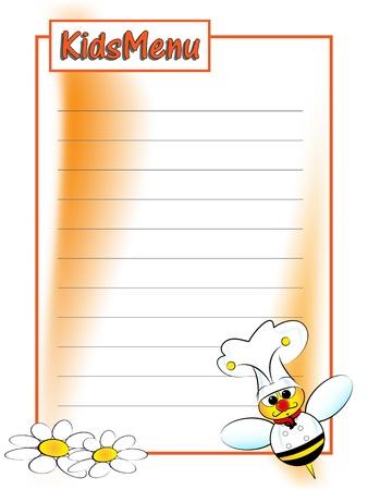 Página de menú para niños con un chef de bee Foto de archivo - 9913254