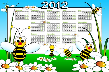 2012 Kid calendar landascape with bees and daisies - Cartoon style photo