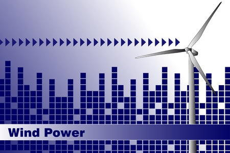 windpower: Wind power, renewable energy.  Brochure cover or Business card Illustration