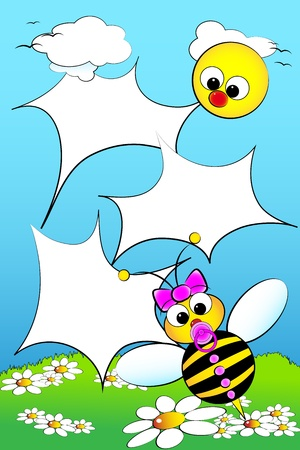 Kid scrapbook with baby bee and white daisies in a field with sun - Photo or message frames for children Vector