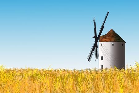 don quijote: Ilustración de un molino de viento español en un campo de hierba amarilla