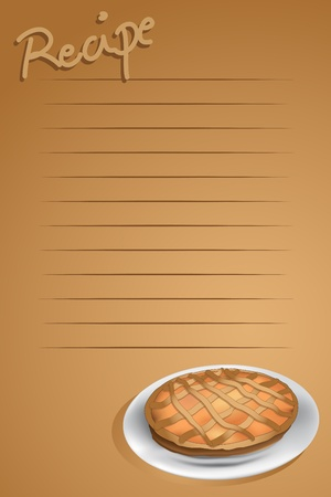 Recipe page with a tarte, brown background Vector