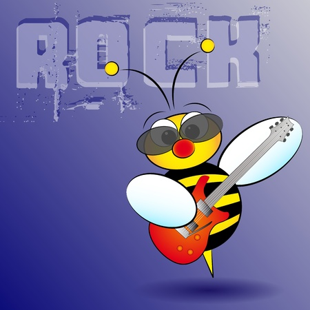 Rocker bee with electric guitar, card for kids, scrapbook and labels useful Vector