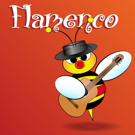 for kids: Flamenco Spanish bee with guitar, card for kids, scrapbook and labels useful