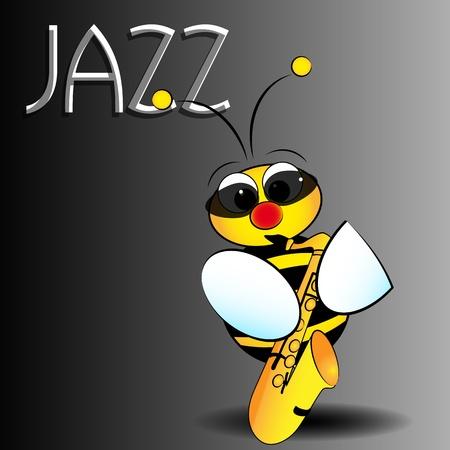 saxof�n: Jazz abeja con el saxof�n, la tarjeta para los ni�os, bloc de notas y etiquetas �til Vectores