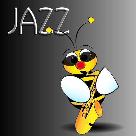 saxophone: Jazz bee with saxophone, card for kids, scrapbook and labels useful