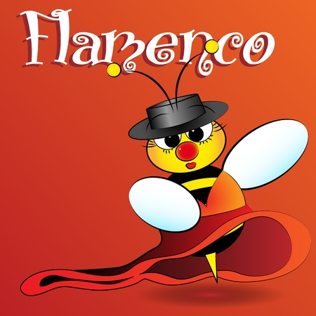 flamenco: Flamenco Spanish bee dancing, card for kids, scrapbook and labels useful