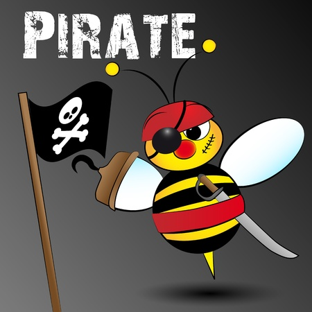 bumble: Pirate bee with flag, hook and swordr, card for kids, scrapbook and labels useful