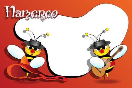 Flamenco Spanish bees with guitar, card for kids, scrapbook  useful Vector
