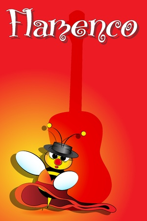 Flamenco Spanish bee dancing with guitar on background, card from Spain Vector