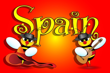 Spanish bees dancing with guitar, Spanish card Vector