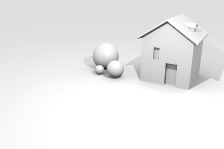 House rendering, white ambient with copy space Stock Photo - 11809310