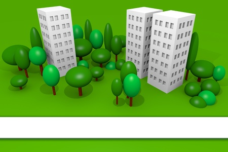 Green town with buildings, trees and a blank banner useful for brochure Stock Photo - 11809314
