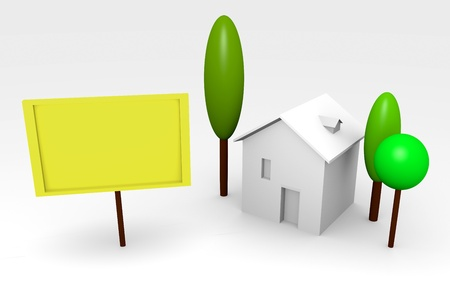 House rendering with trees and blank billboard Stock Photo - 11809317