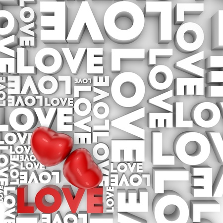 Valentine card with 3d hearts and Love text Stock Photo - 11919371
