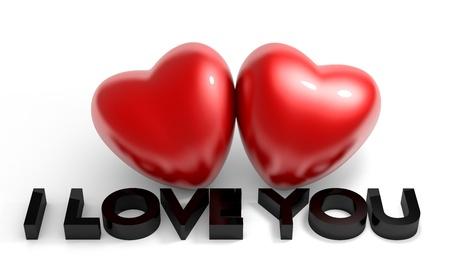 romantico: La imagen de San Valent�n, dos del coraz�n brillante con el texto Te amo Foto de archivo