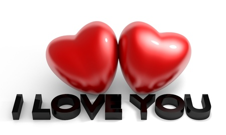 Valentine's Day image, two glossy heart with I love you text Standard-Bild