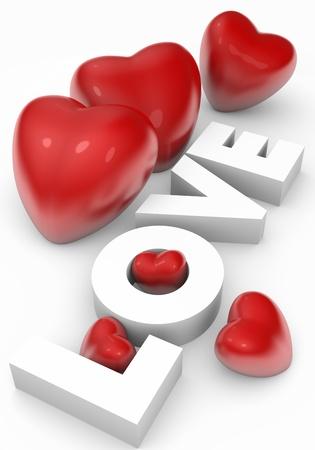 liefde: Valentijn kaart met 3d hartjes en liefde tekst Stockfoto