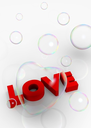 Valentine card with 3d hearts and Love text photo