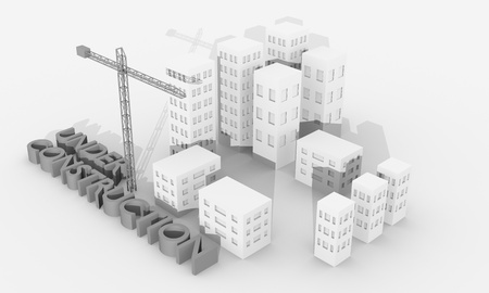 housing project: Construction concept image with a crane and buildings Stock Photo