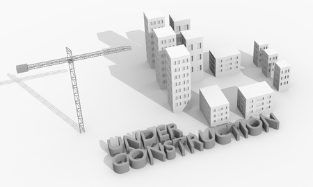 Construction concept image with a crane and buildings Stock Photo - 12202576