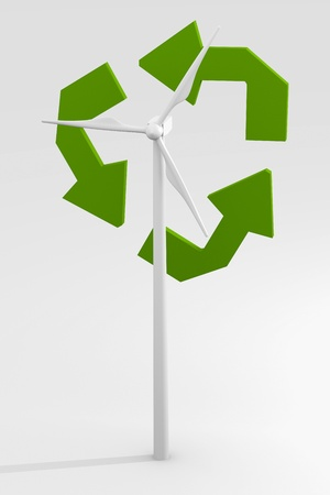 spinning windmill: Renewable energy image with wind turbine