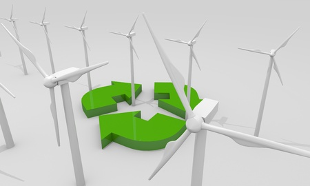spinning windmill: Renewable energy image with wind turbines Stock Photo